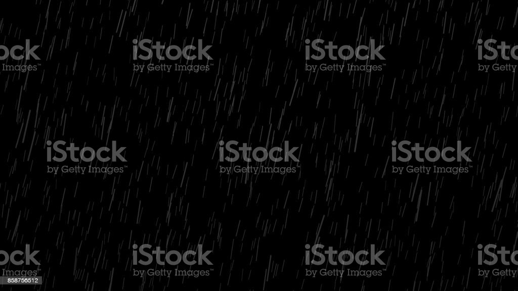Falling raindrops on black background, black and white luminance matte stock photo