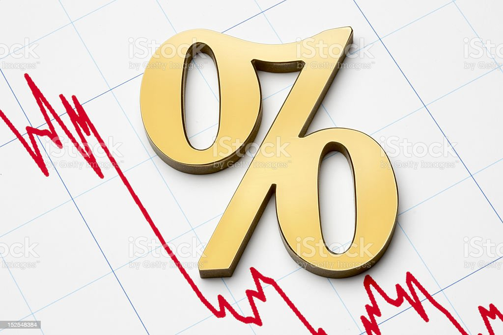 Falling rates stock photo