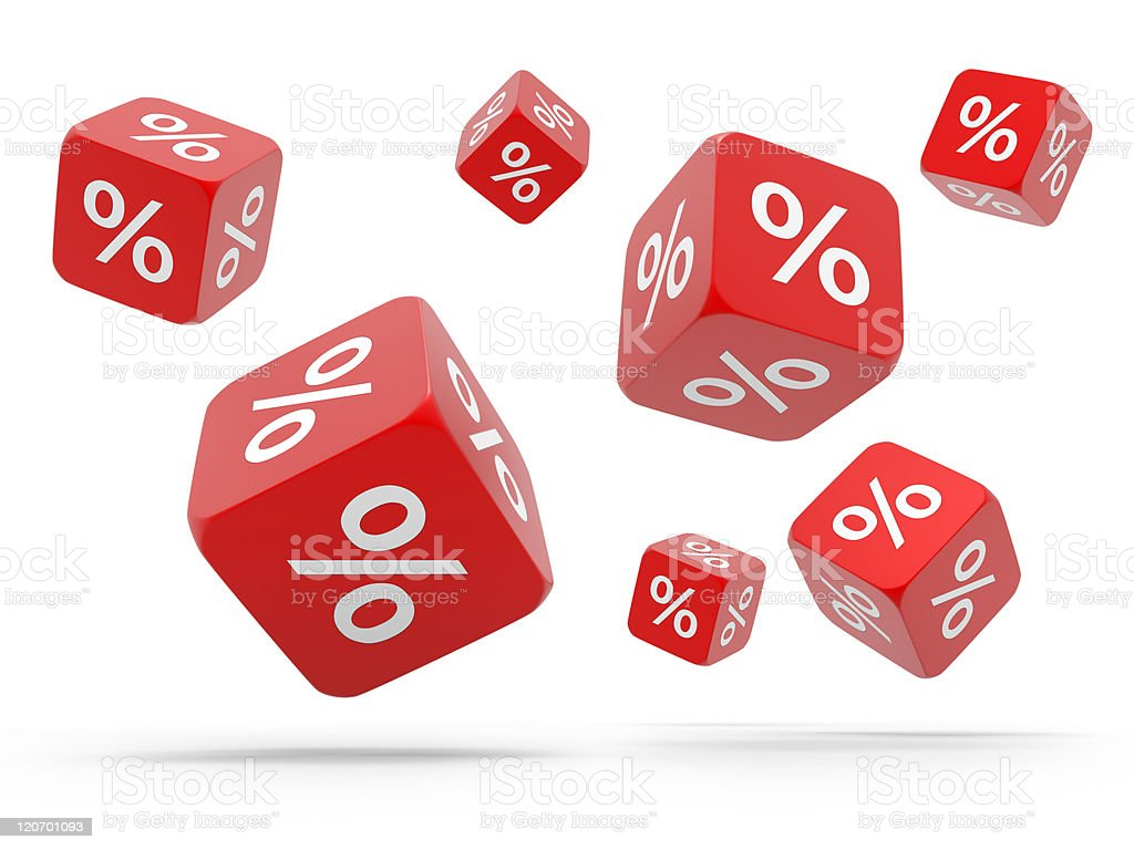 Falling red cubes with percent stock photo