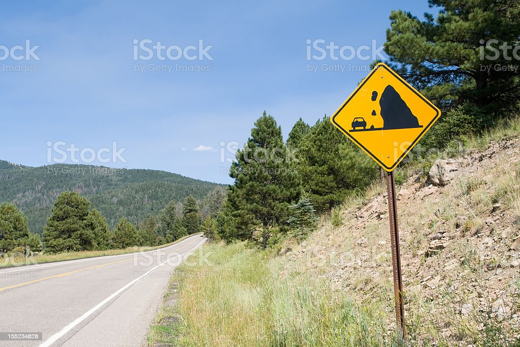 Falling Rock Sign Along Country Road  Valles Caldera, New Mexico royalty-free stock photo
