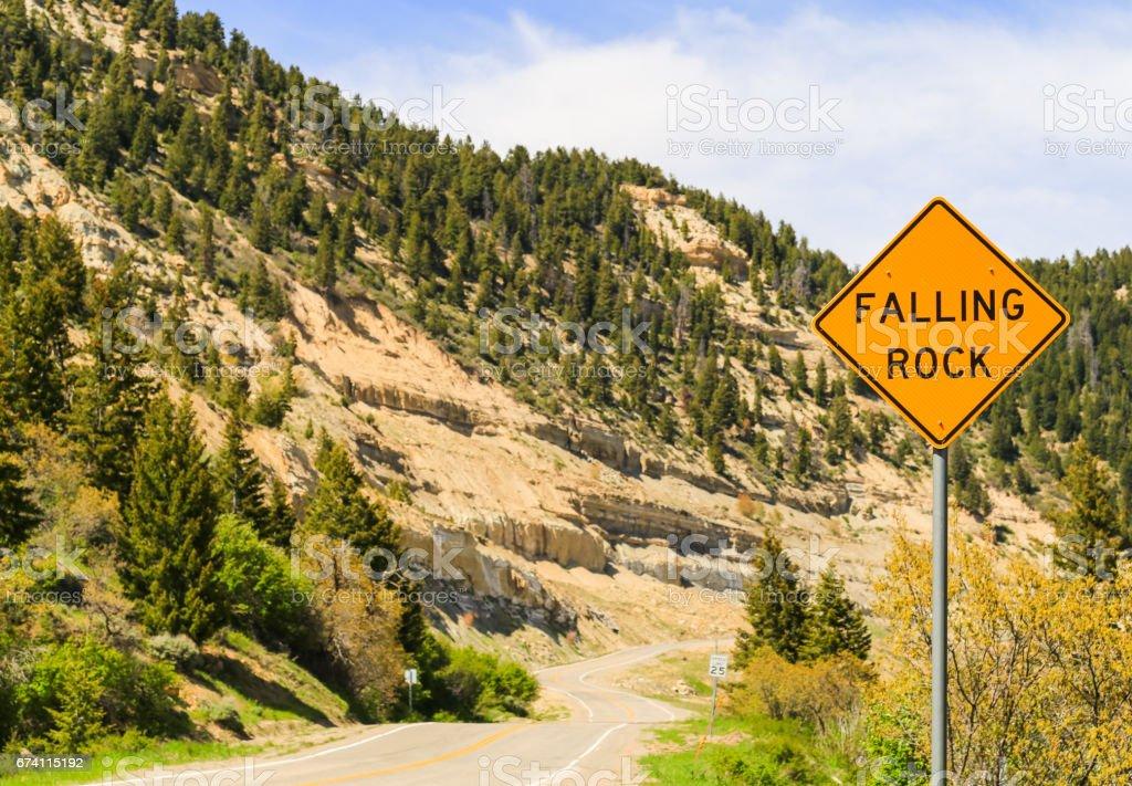 下降的岩石標誌 免版稅 stock photo