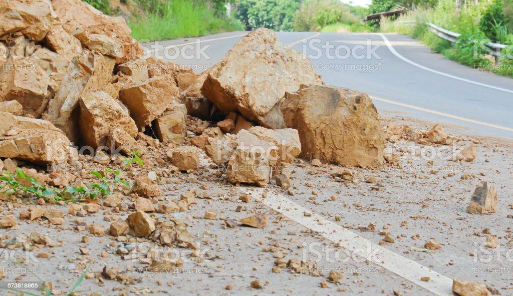 Falling rocks stock photo