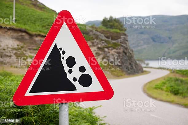 Photo of Falling Rocks Warning Road Sign
