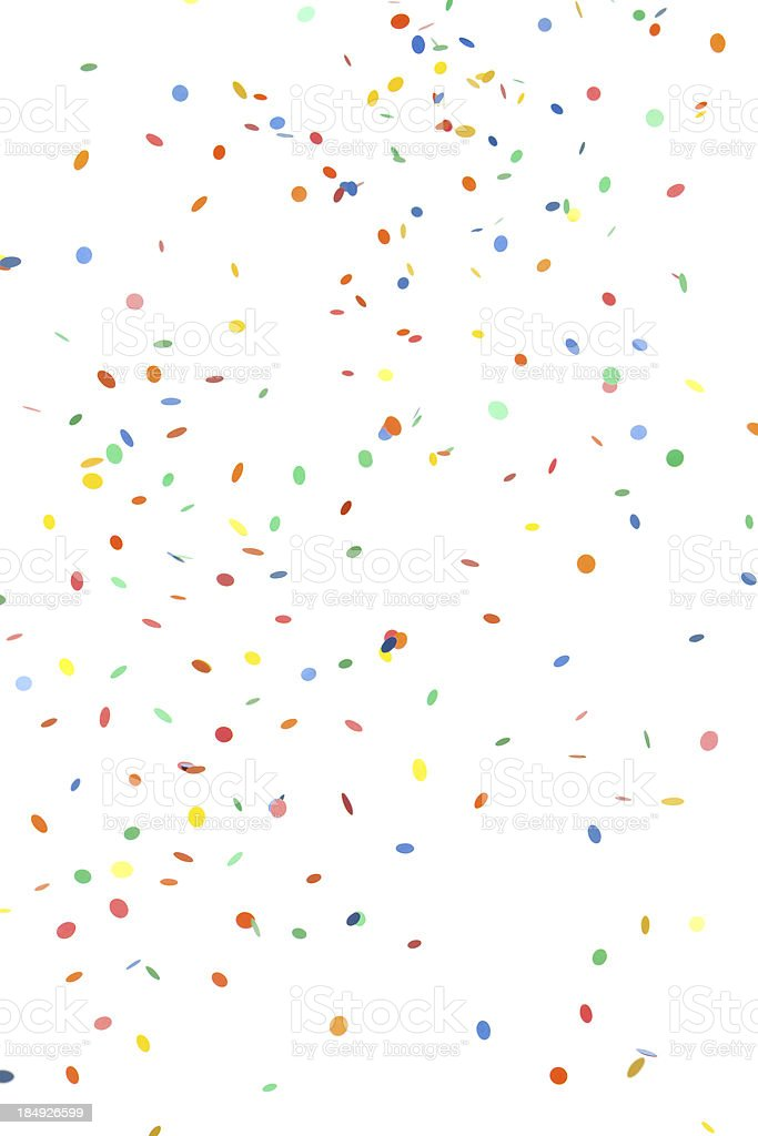Falling Round Paper Confetti on White stock photo