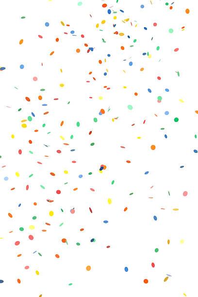 falling round paper confetti on white - confetti stok fotoğraflar ve resimler