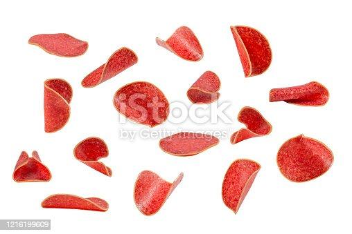 Falling tasty salami isolated on white background.