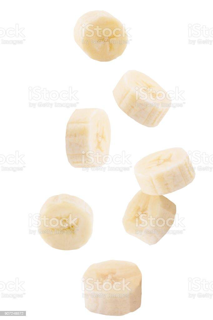 떨어지는 흰색 절연 슬라이스 바나나 - 로열티 프리 0명 스톡 사진