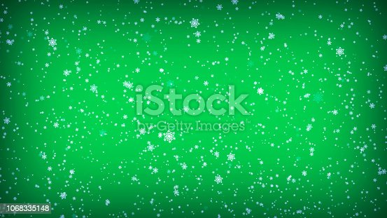 istock Falling Snowflakes on a Green Background. Christmas illustration 1068335148