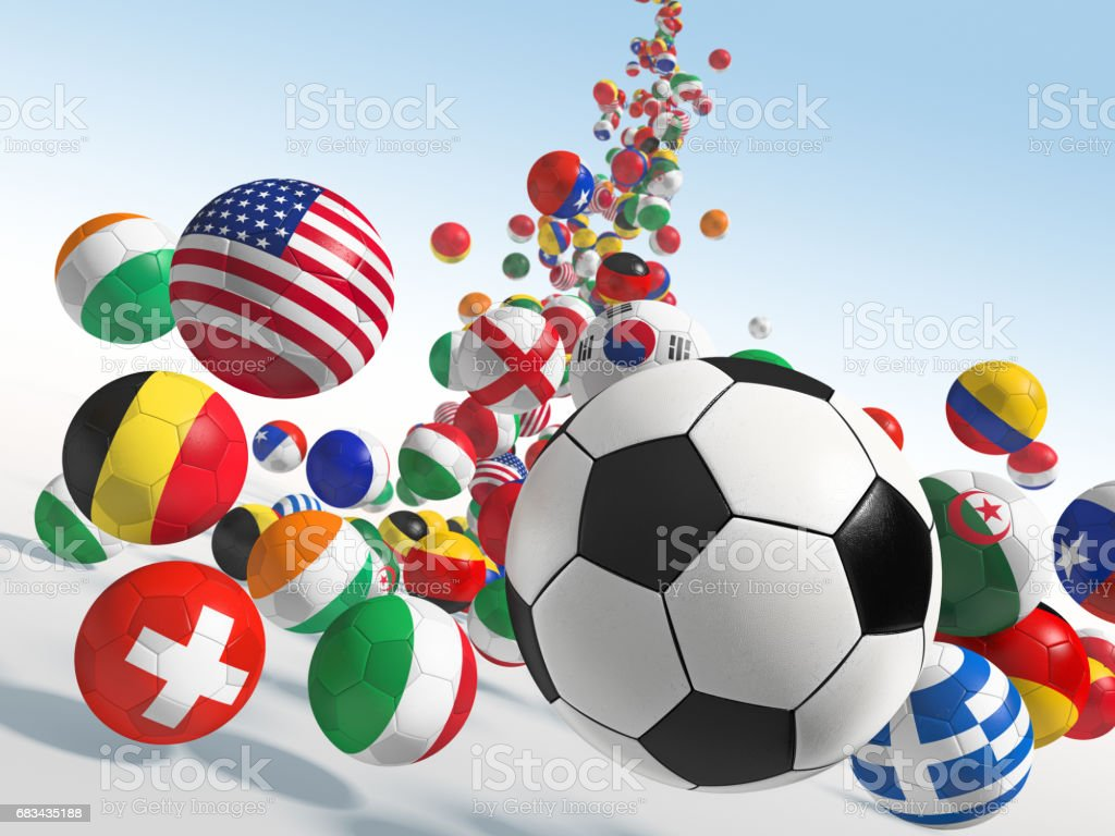 Falling soccer balls stock photo