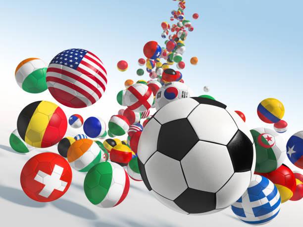 Cтоковое фото Falling soccer balls