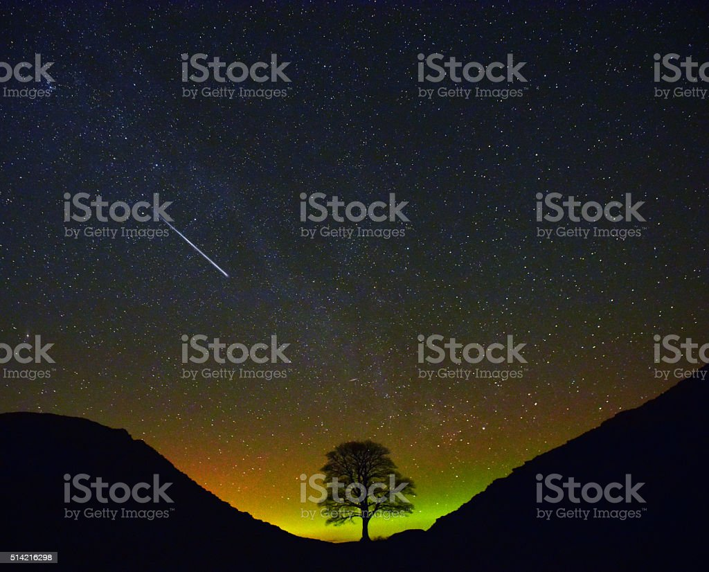 A meteor streaks across the night sky with Northern Lights