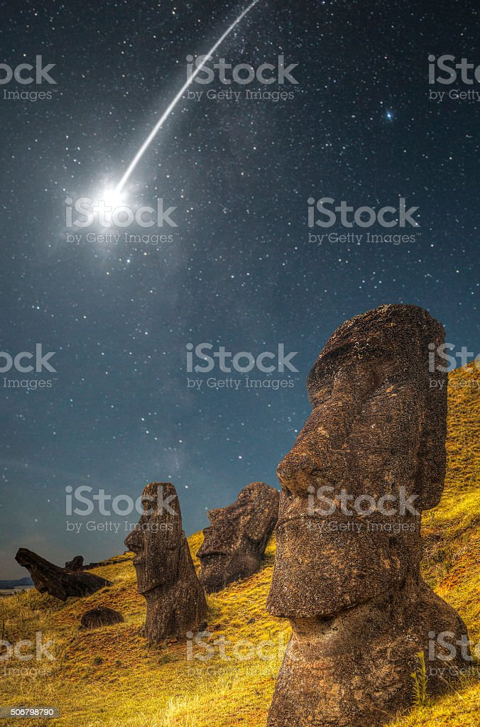 falling star . Easter island stock photo