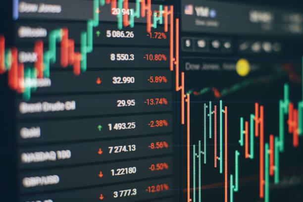 Düşen hisse senedi piyasaları, coronavirus için hisse senetleri, Market Analyze dahil bir monitör de dahil olmak üzere bir monitör finansal veriler. Çubuk grafikler, diyagramlar, finansal rakamlar. stok fotoğrafı