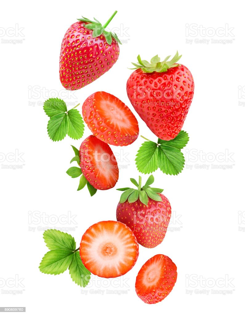 Dalende aardbeien geïsoleerd op witte achtergrond foto