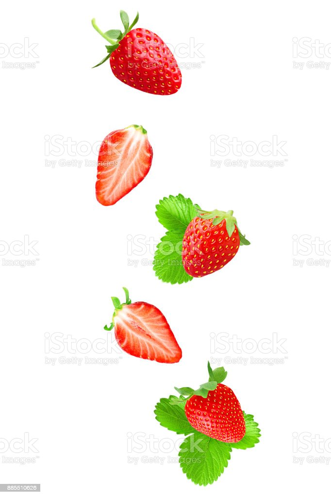 Falling strawberry on white background - foto stock