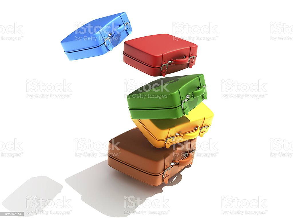 falling suitcases royalty-free stock photo