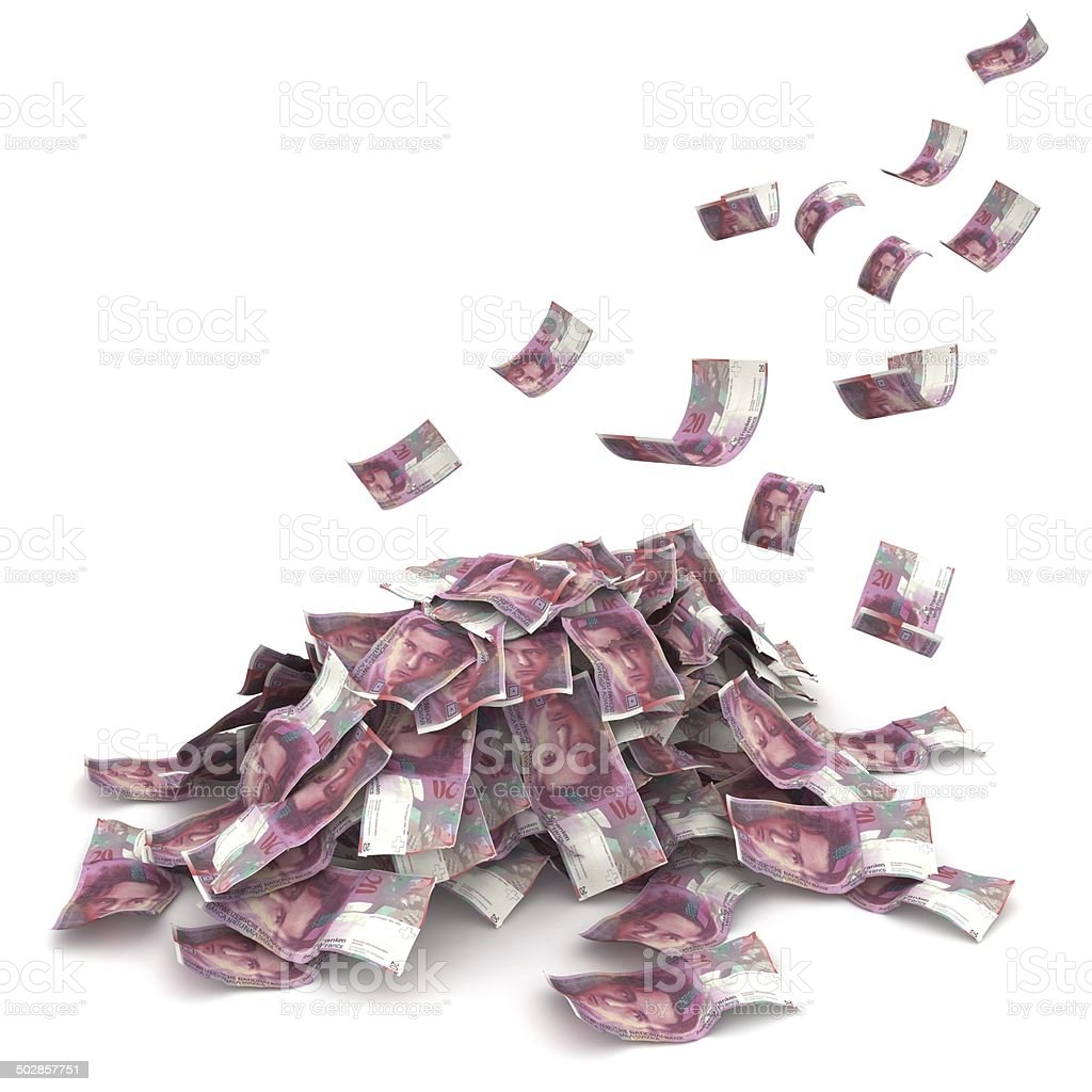 Falling Swiss Francs stock photo