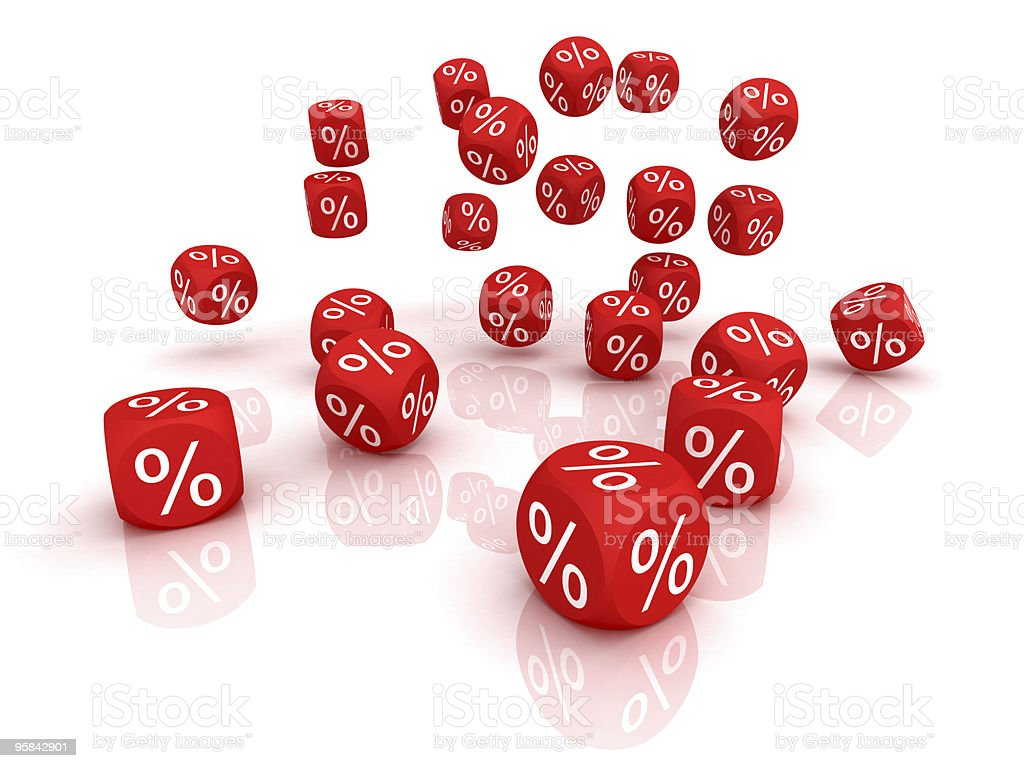 Falling symbols of percent stock photo