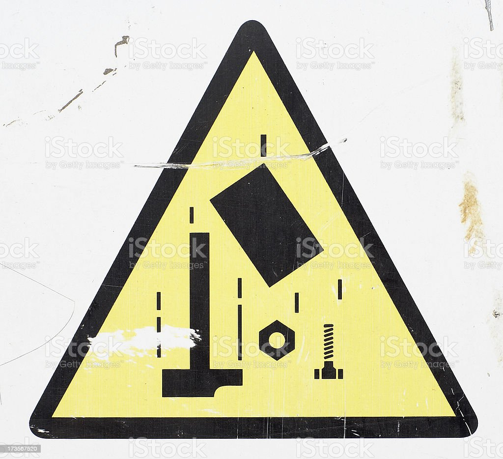 Falling tools danger sign royalty-free stock photo
