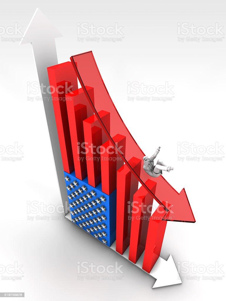 Falling US Economy and Businessworld stock photo