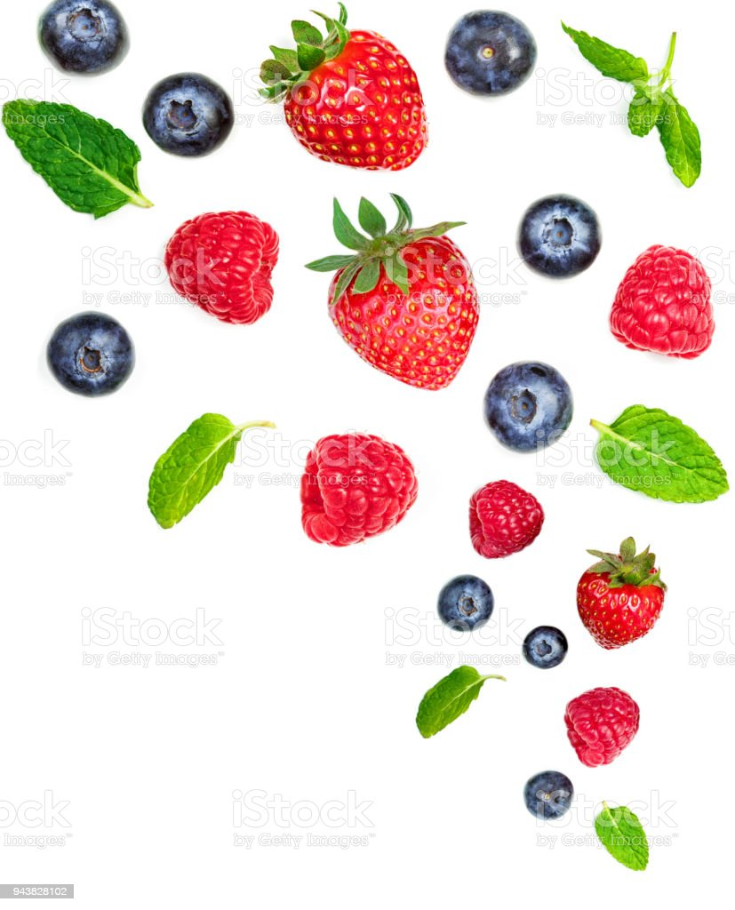 Falling  Various fresh berries isolated on white background, close up. Flying Strawberry, Mint, Raspberry and Blueberry