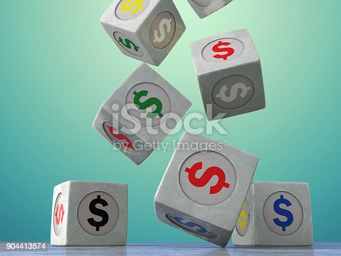 istock Falling vintage cubes with the image of currency symbols on a dark background. 904413574