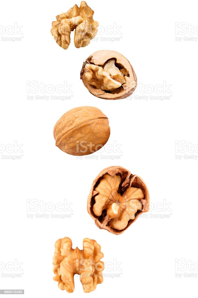 Falling walnuts on white - foto stock