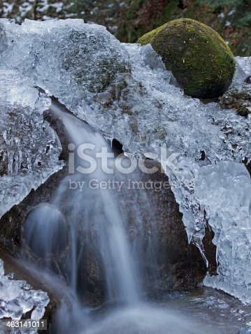 Outdoor winter photography from falling water and stones covered in ice.