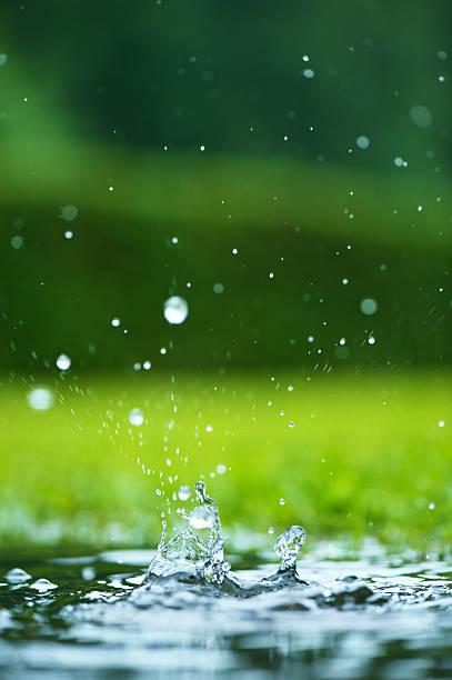 Falling water drops stock photo
