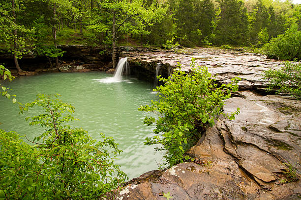 Falling Water Falls in Arkansas Falling Water Falls is located on Falling Water Creek in Arkansas national forest stock pictures, royalty-free photos & images