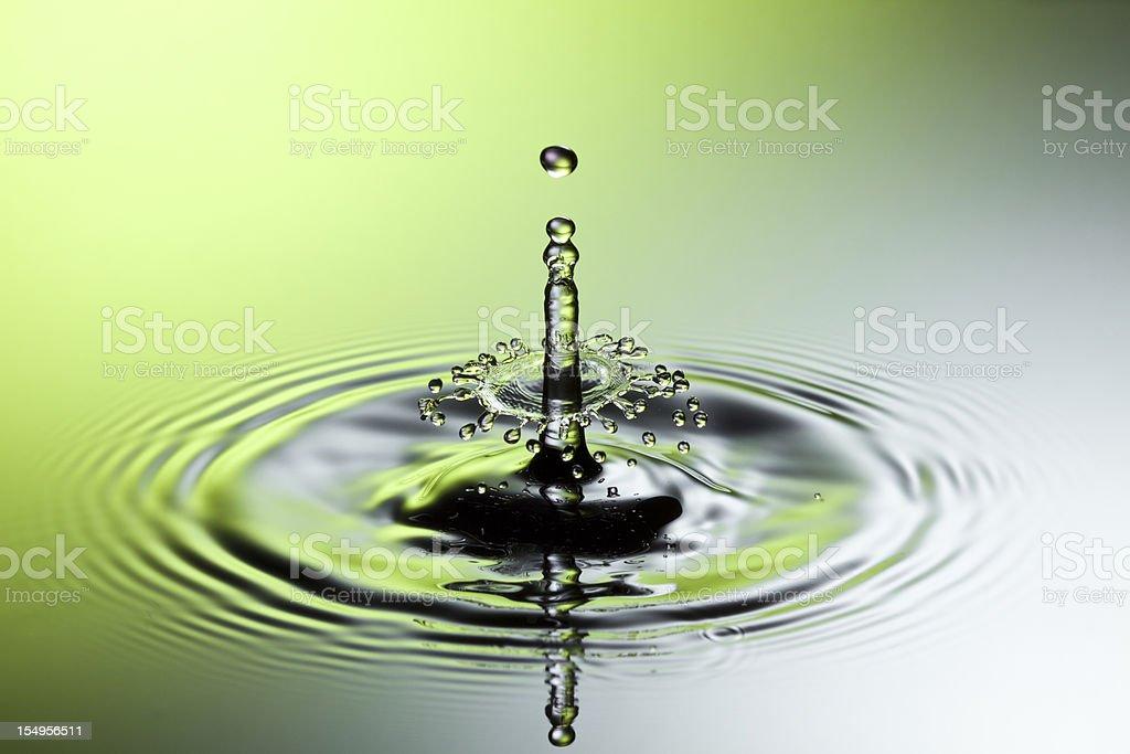 Falling water splash IX - Freeze frame motion drop royalty-free stock photo