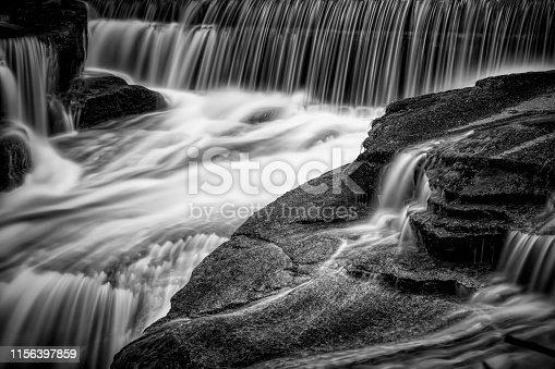 beautiful falling waterfall in the Karkonosze (Krkonoše, Giant Mountains) mountains
