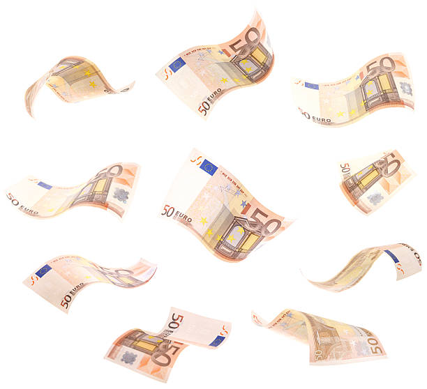 Falling Wavy Euros 10 different angles of loose wavy, curly 50$ Euro banknote.  Isolated for your design. fifty euro banknote stock pictures, royalty-free photos & images
