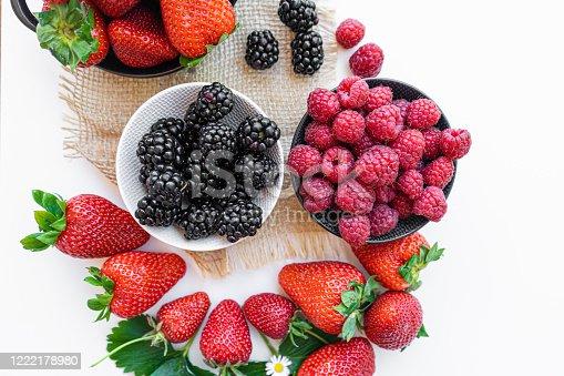 879258868 istock photo Falling wild berries mix, strawberry, raspberry, blackberry, isolated on white background. 1222178980