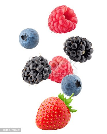istock Falling wild berries mix, strawberry, raspberry, blueberry, blackberry, isolated on white background, clipping path, full depth of field 1083979428
