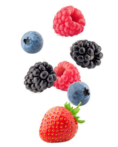caída salvaje bayas mix, fresa, frambuesa, arándano, zarzamora, aislado en fondo blanco, trazado de recorte, profundidad de campo - fruta fotografías e imágenes de stock