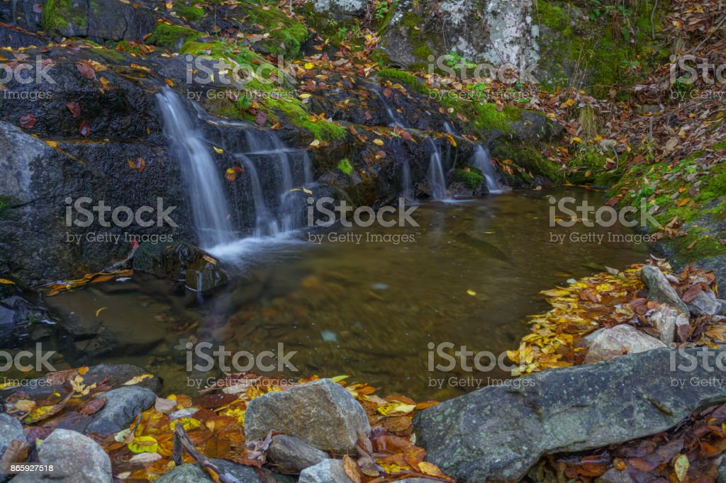 Fallingwater Cascades in the Peaks of Otter in the Blue Ridge Mountains stock photo