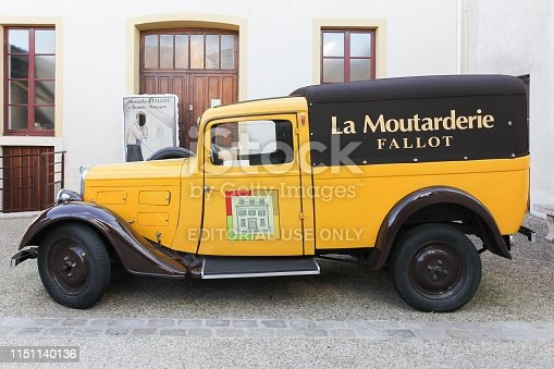 Beaune, France - October 6, 2017: Fallot Mustard vintage car at the boutique in Beaune. Fallot Mustard mill is an independent Burgundian family business since 1840 in Beaune, France