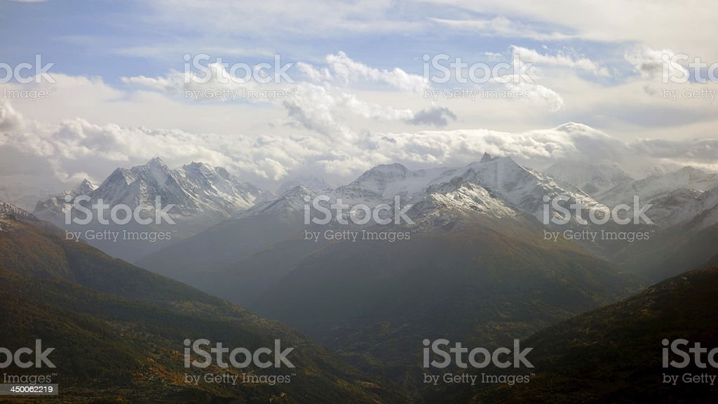Fall's beauty - mountain range in Switzerland stock photo