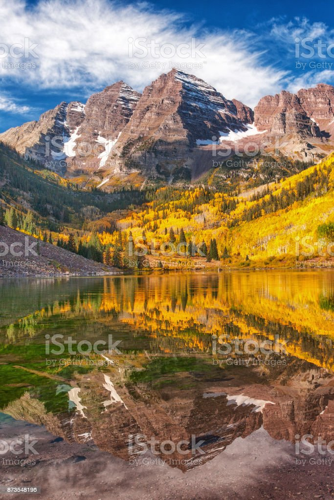 Falls color at Aspen's Maroon Bells with reflections stock photo