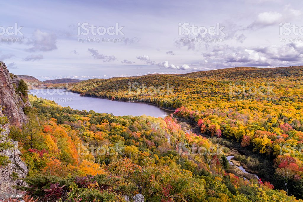 Falls colors at Carp river, Porcupine Mountains State Park stock photo