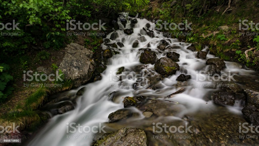Falls Creek Falls, Alaska. stock photo