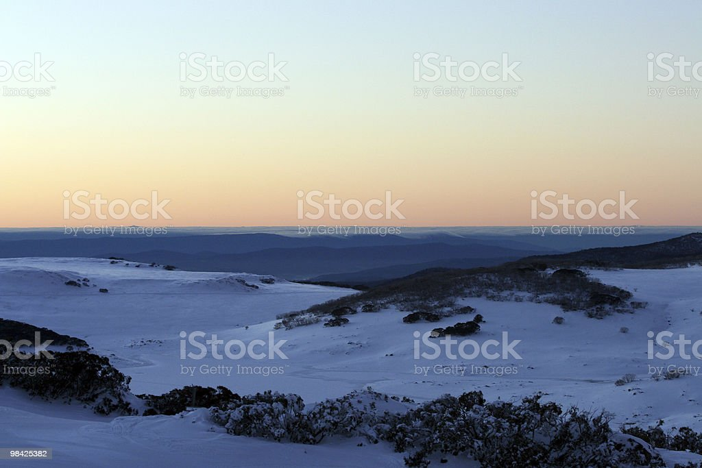 Falls Creek Sunset in the Snow royalty-free stock photo