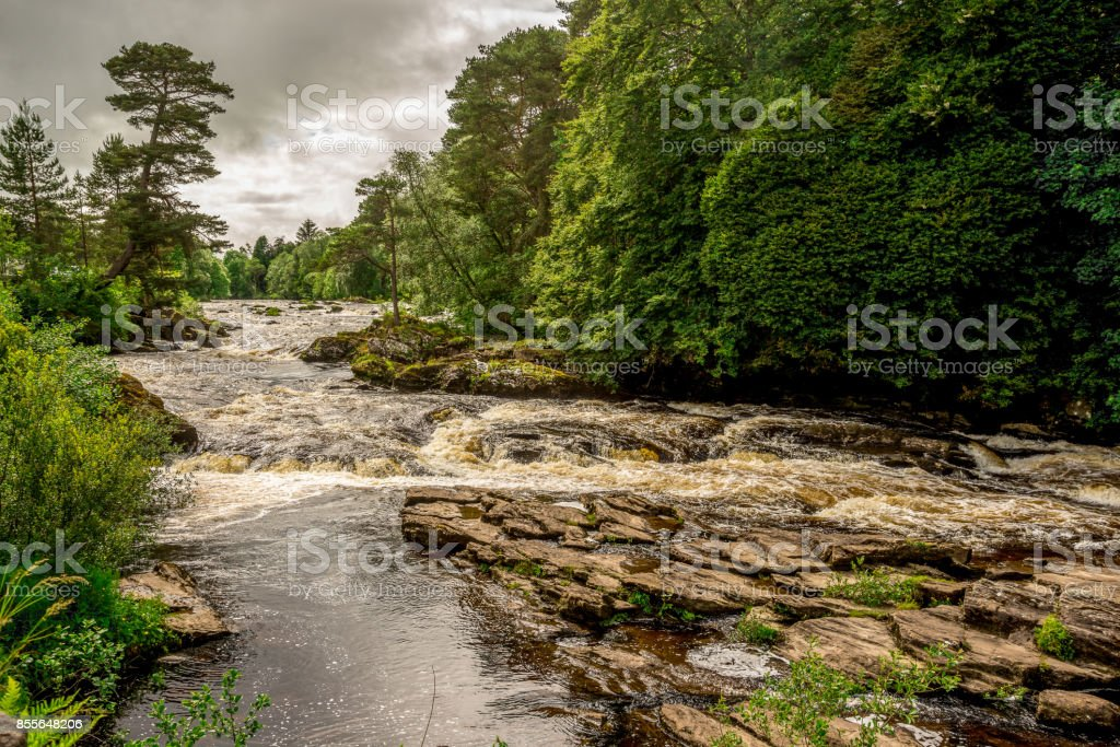 Falls of river Dochart in Loch Lommond and The Trossachs National Park, central Scotland stock photo