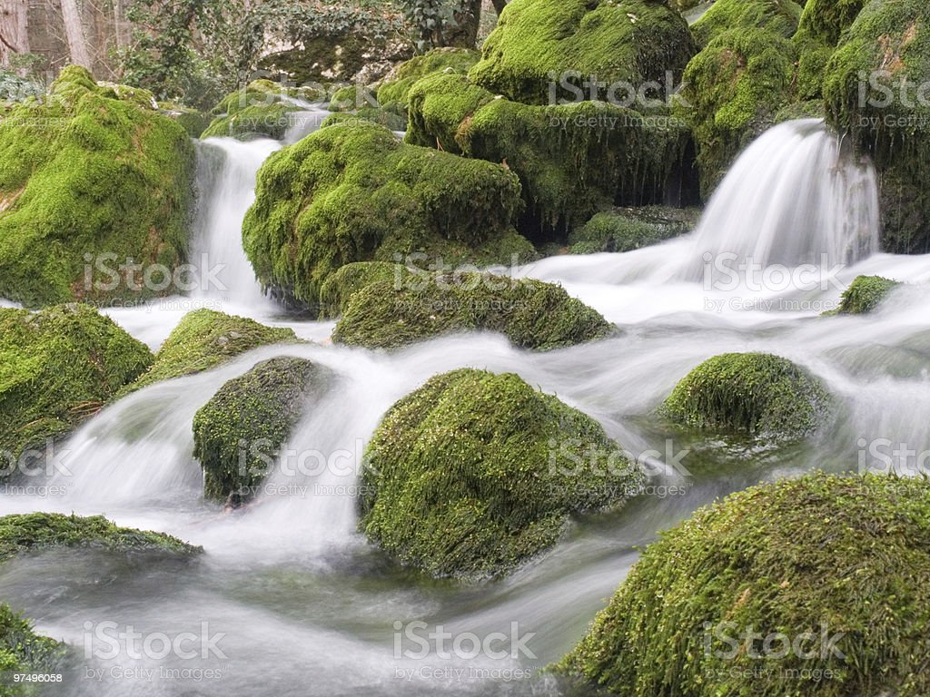 Falls on the small mountain river royalty-free stock photo