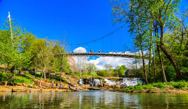 Falls Park in Downtown Greenville, South Carolina, United States. Falls Park Reedy River and Liberty Bridge Panorama in Downtown Greenville, South Carolina. liberty bridge budapest stock pictures, royalty-free photos & images
