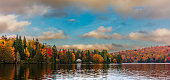 Fall colors in cottage country in the Laurentians, Quebec, Canada.