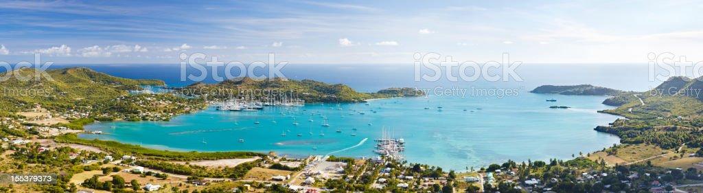 Falmouth Area Panorama, Antigua stock photo