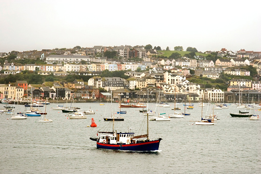 Falmouth harbour with fishing boat