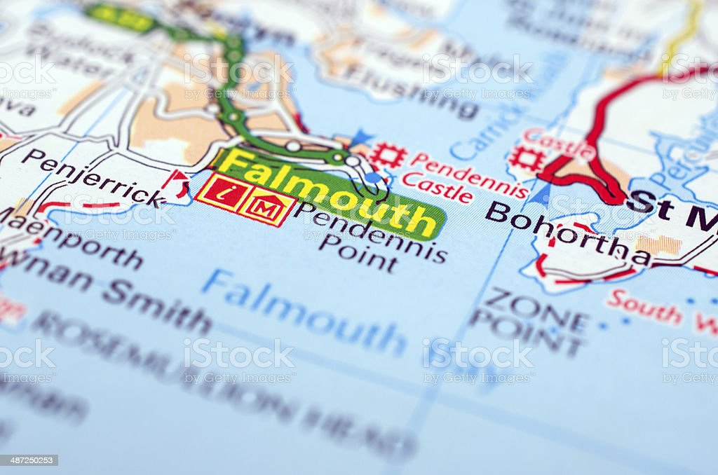 Falmouth on road map stock photo